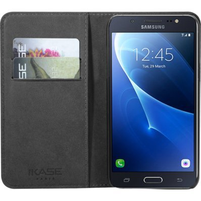 Coque clapet avec pochettes CB & stand pour Samsung Galaxy J5, Noir