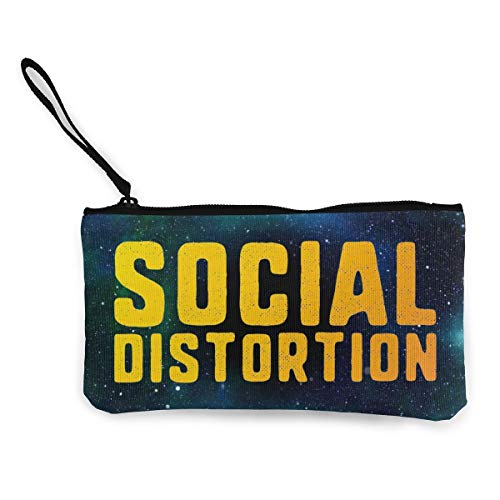 MichaelHazzard Social Distortion Logo Women Fun Coin Purse Zipper Pouch Wallet Canvas Clutch Wristlet Cellphone Bag With Handle