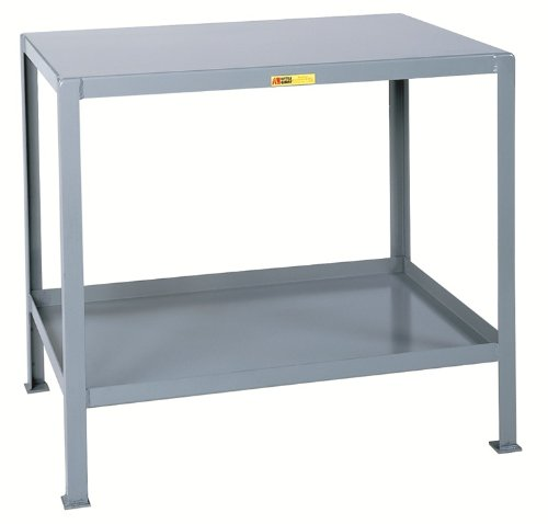 Little Giant MT1824-2 Welded Steel Multi-Shelf Machine Table, Top and Lower Shelf, 32-1/2'' x 24'' x 18'', Gray