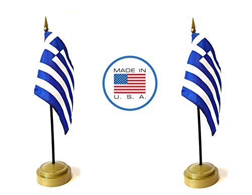 Made in The USA Flag Set. 2 Greece Rayon 4
