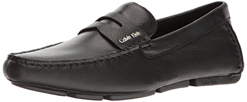 Calvin Klein Men's Martyn Tumbled Leather Slip-on Loafer, Black, 8.5 M US by Calvin Klein