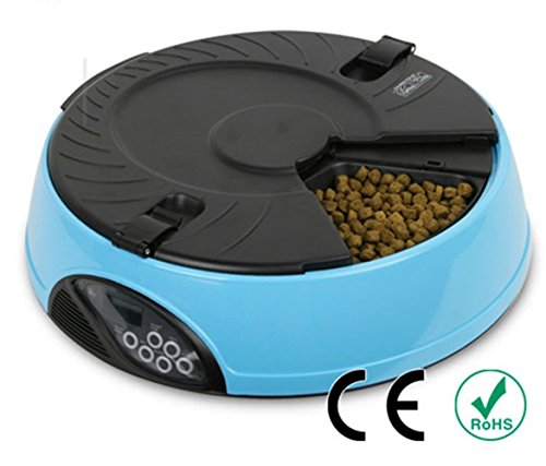 Automatic Pet Feeder PYRUS Pet Feeder Separate Compartments Food Trays Secure Locked Programmed Feeder for Pets (Blue)