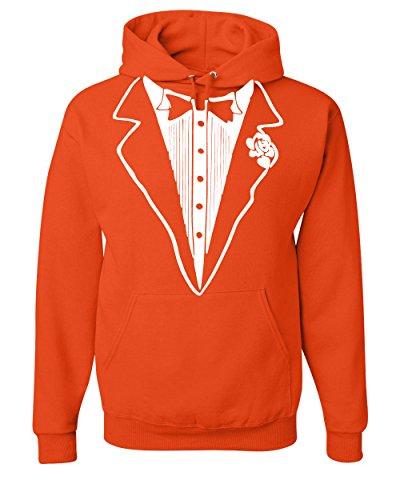 Tux Sweatshirt (Tuxedo Funny Hoodie Tux Bachelor Party Wedding Groom Sweatshirt Orange XL)