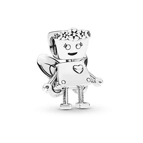 Sterling Belle Bracelet Silver (Romántico Amor Floral Bella Bot Charm 925 Sterling Silver Robot with Butterfly Wings Beads fit Pandora Bracelet)
