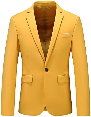 Men's Slim Fit Casual One Button Notched Lapel Turn-Down Collar Blazer Jacket