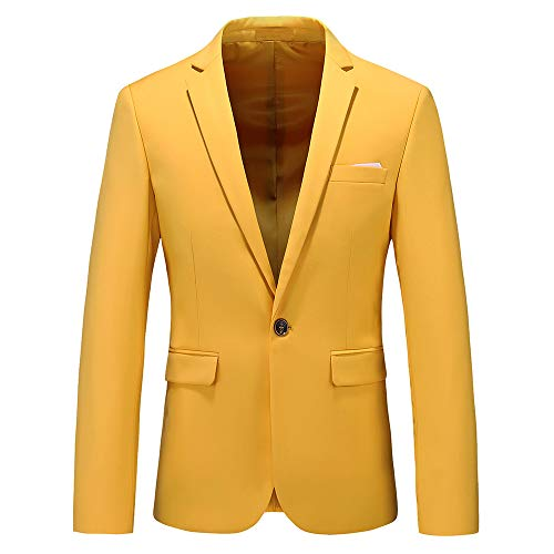 Man's Slim Fit Casual One Button Notched Lapel Turn-Down Collar Blazer Jacket US Size 40 (Label Size 4XL) Yellow