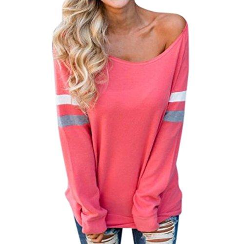 HGWXX7 Women's Casual Fall Long Sleeve Boat Neck Splice Sexy Blouse Tops T-Shirt (S, Watermelon ()