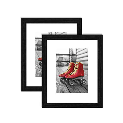 ElegartGallery Black Picture Frames 8x10 Solid Wood Collage Picture Frames with Mat to Display Photo 5x7 or Poster for Living Room and Office Tabletop Wall Decor 2-Pack ()