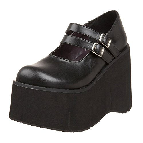 Womens Gothic Platform Wedges Black Mary Jane Shoes Double Strap 4 3/4 Inch Size: 11 -