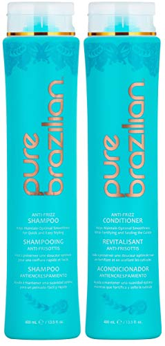 PURE BRAZILIAN Anti Frizz Daily Shampoo & Conditioner - Salt-Free & Color Safe Shampoo & Conditioner Enriched With Keratin, Argan Oil, and Acai (13.5 Ounce / 400 Milliliter)