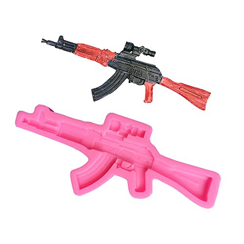 (MoldFun AK103/AK47 Assault Rifle Silicone Mold for Military Themed Cake Decorating, Chocolate, Fondant, Plaster of Paris, Polymer Clay)