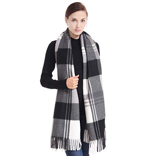 Black White Winter - LERDU Ladies Gift Idea Cashmere Tartan Pashmina Scarf Fashion Black & White Tartan Warm Wool Wrap Shawl Winter Stole for Women