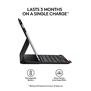 Logitech Type+ Protective iPad Air 2 Case with Integrated Keyboard – Two Viewing Positions – Designed for Typing and Tapping – Powered with Wireless Bluetooth – 30-Foot Wireless Range – Black
