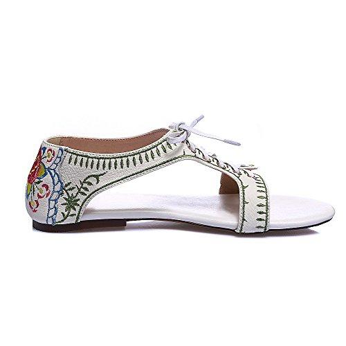 Amoonyfashion Donna Open Toe Senza Tacco Stringate Sandali Assortiti Colore Bianco