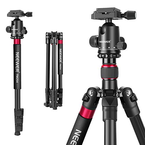 Neewer 2-in-1 Aluminum Alloy Camera Tripod Monopod 66 inches/168 Centimeters with 360 Degree Ball Head 1/4 inch QR Plate and Carry Bag for DSLRs Video Camcorders Load up to 26.5 pounds/12 kilograms