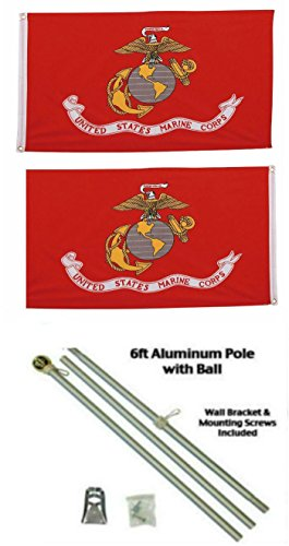 Marines Marine Corps EGA 3'x5' Polyester 2 Ply Double Sided Flag With 6' Aluminum Flag Pole Kit With Gold Colored Ball Topper