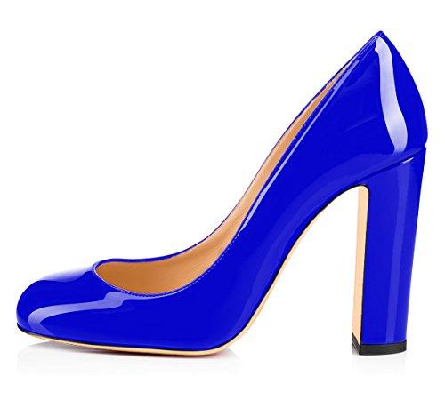 Talons Rond Hauts Chaussures Cm Ubeauty Femme Bout Talon 10 Femmes Bloc À Bleu Escarpins zvq81TY