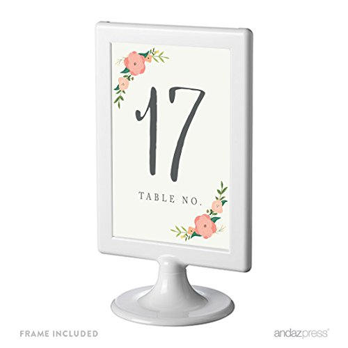Andaz Press Framed Double-Sided Table Numbers 17-24, Floral Roses, 1-Set, 4x6-inch, Includes Frames