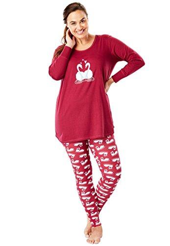 (Dreams & Co. Women's Plus Size 2-Piece Pj Legging Set - Pink Raspberry Swan, 4X)