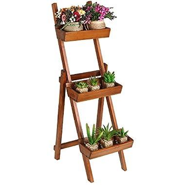 Freestanding Ladder Design Brown Wooden Plant Rack / Flower Planter Box / Display Stand