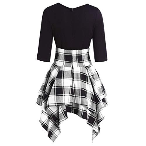 (IAMUP Ladies Hot Popular Fashion Women Casual O-Neck Lace Up Tartan Plaid Print Asymmetrical Mini Dress Gray)