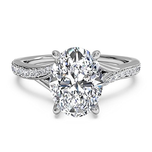 1.25 Ct Oval Moissanite Diamond Engagement Ring Sterling Silver White Gold...