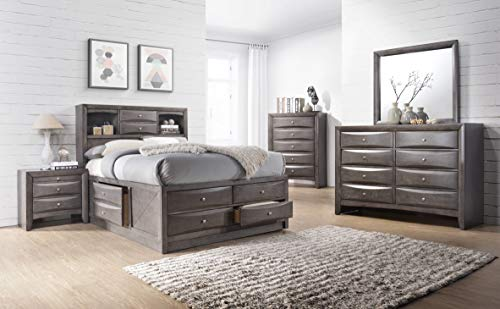Cambridge 98126A5K1-GR Orleans Storage 5-Piece Gray: King Bed, Dresser, Mirror, Chest and Nightstand Bedroom Suite, Cambridge 5 Drawer Chest