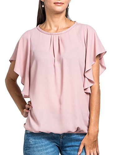 - Everyday Womens Angel Sleeve Top, Hand Braided Neckline, Bubble Hem, Chiffon Blouse, Wear to Work, Blush M(US 6)