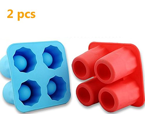 (Colorfulworld 2 pcs of Ice Cube Tray Freeze Mold, Ice Cube Mold, Silicone 4 Cup Shot Glass Mold)