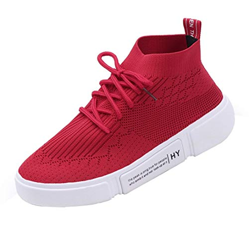 New Special Prada Shoes - UOKNICE Women Girl Mesh Breathable Round Toe Lace-up Sneakers Gym Student Running Shoes Casual Shoes(Red, CN 37(US 6))