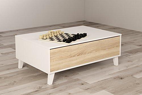 13Casa Vanilla A4 Tavolino Sollevabile 100x68x38 H cm Rovere Melamina Bianco