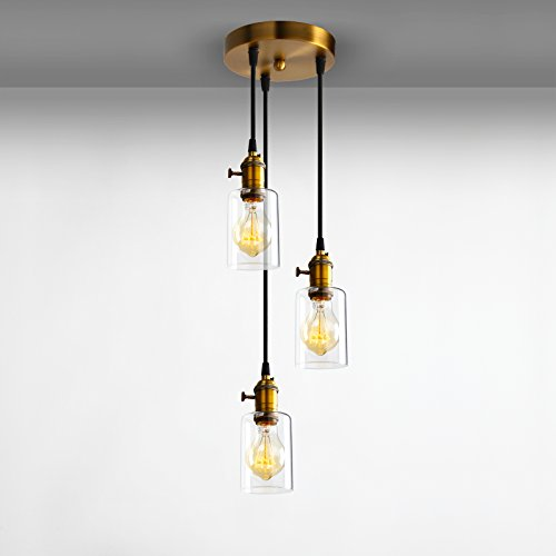 Adjustable Cluster (Pathson Industrial Factory Mini Downlight with 3 Head in Clear Glass Shade Design Vintage Simple Home Ceiling Light Fixture Flush Mount with Adjustable Textile Cord Pendant Cluster Light)