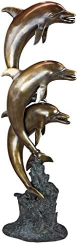 Design Toscano Leaping Dolphins Cast Bronze Garden Statue
