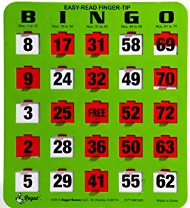 Regal Games Easy Read Green Bingo Heavy Duty 5 Ply Jumbo Shutter Slide Bingo Cards with Big Tabs (10 Pack)