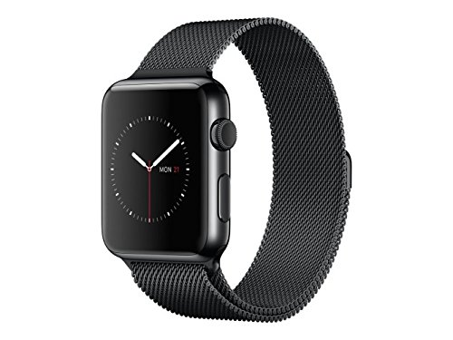 "Apple Watch 38 mm (1ª Generación) - Smartwatch iOS con caja de acero inoxidable en negro espacial (pantalla 1.32"", Apple S1 a 520 MHz, 8 GB, 512 MB RAM), correa Milanesse negra"