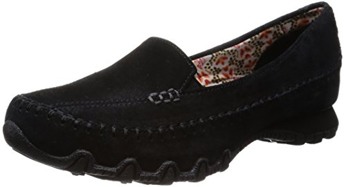 Skechers Women's Bikers Pedestrian Memory Foam Slip-On Moccasin,7 M US,Black Suede