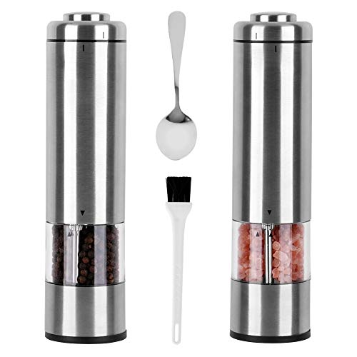 Electric Pepper Grinder Salt Grinder And Pepper Shaker Mill Set With Free Stainless Spoon & Cleaning Brush, Adjustable Coarseness Stainless Steel - Battery Operated with Light... (Pack of 2)