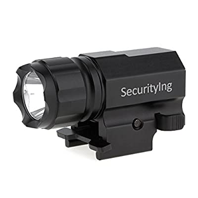 SecurityIng Cree LED Tactical Strobe Gun Flashlight 2-Mode 600LM Pistol Handgun Torch Light with Quick Release Weaver Mount for Hiking, Camping, Hunting and Other Indoor/Outdoor Activities