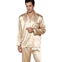 Sangreen Gold Long Sleeve Synthetic Silk Matching Couples Pajamas