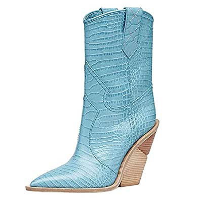 Themost Womens Cowboy Western Boots Wedge Heel Shoes Mid Calf Combat Boot Blue