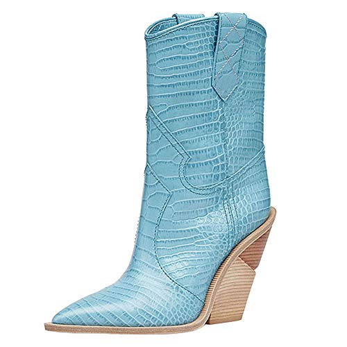 Calf Mid Boots Toe - Themost Womens Miami Cowboy Western Boots Wedge Heel Ankle Boot Cowgirl Booties Mid Calf Combat Pointed Toe Shoes Blue
