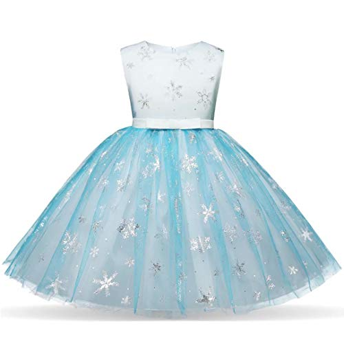 Girls Princess Party Tutu Dress Elsa Costume Halloween Gown -