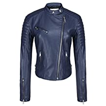 Escalier Women's Blue Faux Leather Oblique Zip Closure Short Motorcycle Jacket