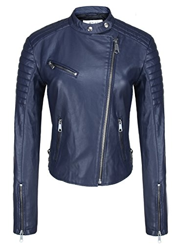 Escalier Women Blue Faux Leather Motorcycle Jacket