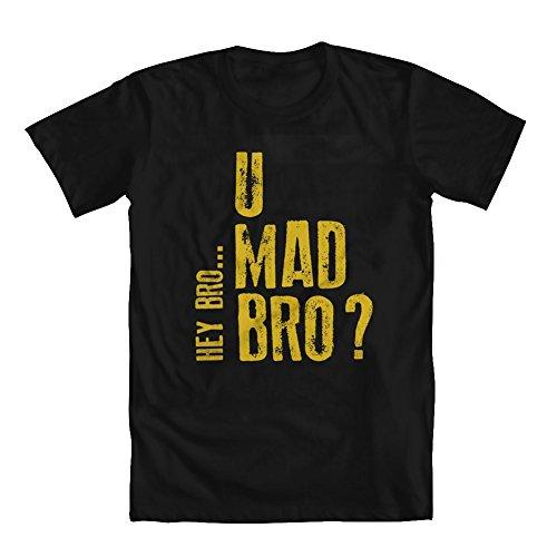 U Mad Bro Girls' T-Shirt Black Large