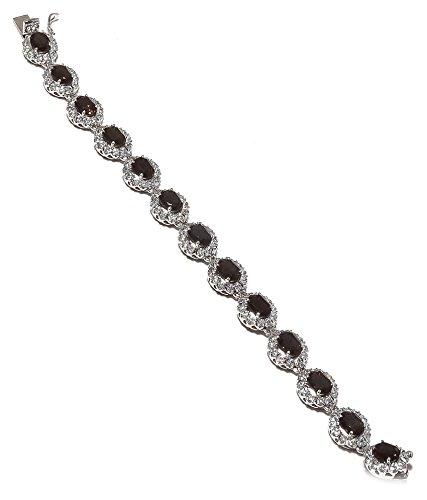 Be You plaqué merveilleux smokey brun réel pierres précieuses rhodium bracelet en argent sterling pour les femmes