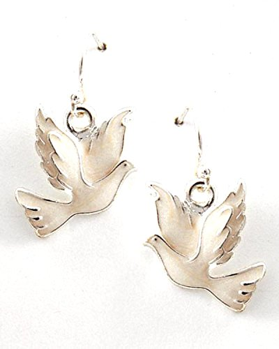 Majestic Nickel Pendant - Peace Silver Tone Ivory Epoxy Dove Dangle Earring for Women / AZERFH309-SWH