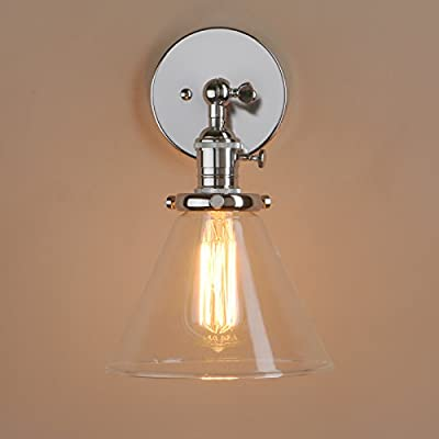 """Loft Vintage Wall Light Dia 7.3"""" Wall Lamp with Funnel Clear Glass Shade Design Vintage Industrial Home Wall Light Metal Base Cap Fixture Flush Mount Wall Sconce by Pathson Lights"""