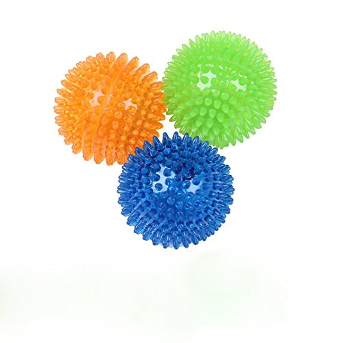 AsyPets Puppy Dog Chew Toys Top Cool Rubber Spike Dogs Chew Ball Teeth Cleaning Toy Color Random