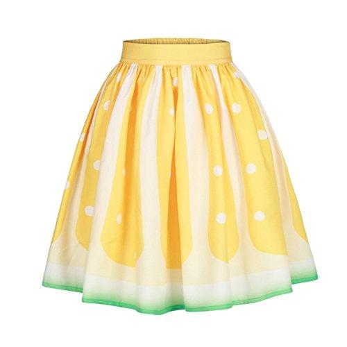 COUSIN CANAL Femmes Filles Vintage A-ligne Jupe Puffy robe haute taille plisse  la taille Citron